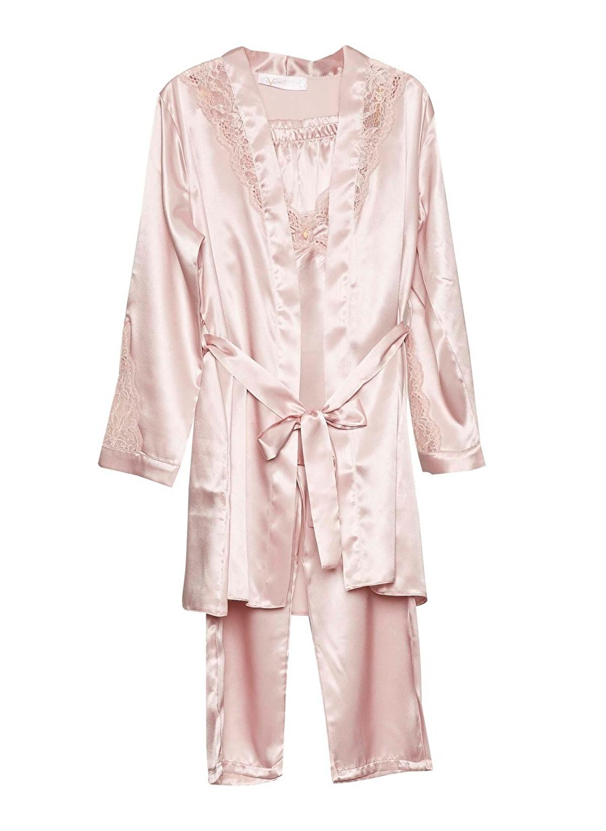 b28ade53de 19V69 Italia Kadın Dantelli Sabahlık Pijama Saten Takım Pudra ...